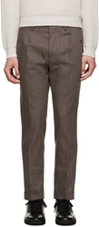 Dolce And Gabbana Grey Chevron Twill Chinos