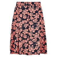 Louche Ritz Orient Pleated Skirt Navy Coral