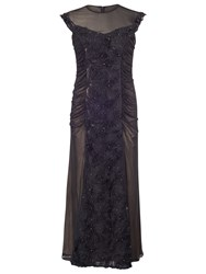 Chesca Floral Beaded Maxi Dress Black