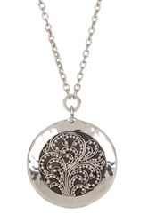 Lois Hill Sterling Silver Concave Granulated Round Pendant Necklace Metallic