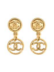 Chanel Vintage Logo Clip On Earrings Yellow And Orange