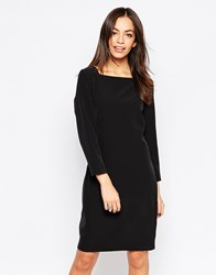 Minimum 3 4 Sleeve Pencil Dress With Square Neck Black