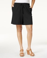 Karen Scott Plus Size Drawstring Knit Shorts Only At Macy's Deep Black