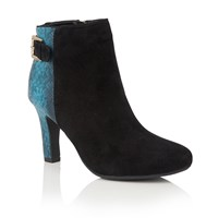 Lotus Kanon Animal Print Ankle Boots Turquoise