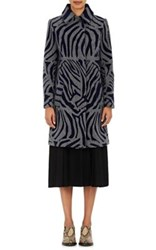 Kolor Women's Zebra Striped Wool Blend Coat Grey