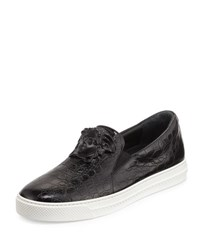 Versace Palazzo Idol Crocodile Embossed Leather Slip On Sneaker Black