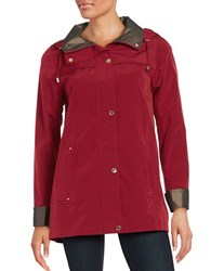 Gallery Plus Hooded A Line Raincoat Ruby