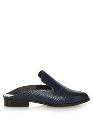 Robert Clergerie Alice Croc Effect Leather Slip On Loafers