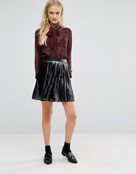 New Lily Newlily Pleated Mini Skirt Black Silver