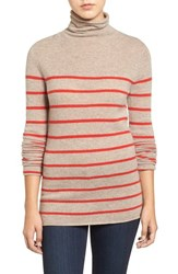Halogenr Petite Women's Halogen Wool And Cashmere Funnel Neck Sweater Heather Tan Red Stripe