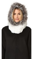 Adrienne Landau Rex Fur Hood With Fur Trim White