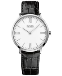 Hugo Boss Men's Jackson Black Leather Strap Watch 40Mm 1513370 White
