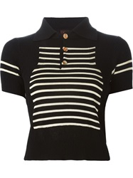Jean Paul Gaultier Vintage Striped Polo Shirt Black