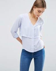 Asos V Neck Collarless Blouse With Double Layer Heather Blue