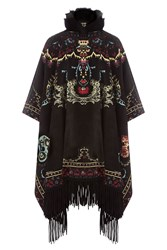 Roberto Cavalli Embroidered Poncho With Fur And Fringe Multicolor