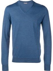 Christian Dior Homme Embroidered Bee Logo Jumper Blue
