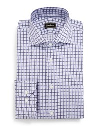 Neiman Marcus Classic Fit Regular Finish Square Pattern Dress Shirt Purple