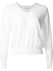 Astraet Long Sleeve V Neck Jumper White
