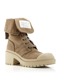 Marc By Marc Jacobs Lace Up Booties Fold Down Army Military Beige
