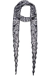 Chan Luu Bead Embellished Printed Georgette Scarf Blue Black