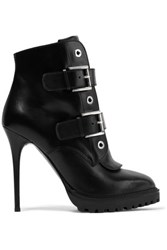 Alexander Mcqueen Buckled Leather Ankle Boots Black