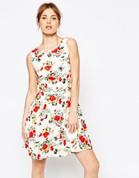 Yumi Floral Sleeveless Skater Dress Multi White