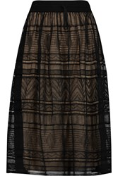 M Missoni Crochet Knit Cotton Blend Skirt Black