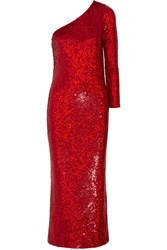 Ashish One Shoulder Sequined Silk Georgette Gown Red