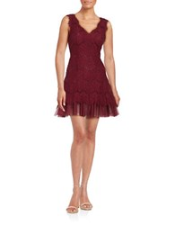Betsy And Adam Lace Fit Flare Dress Merlot