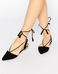 Truffle Collection Edlyn Tie Up Flat Shoes Black Micro