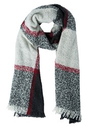 Anna Field Scarf Offwhite Grey Red Off White