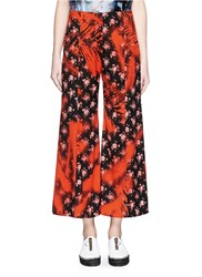 Acne Studios 'Olexa' Sakura Print Cropped Flare Pants Red Multi Colour