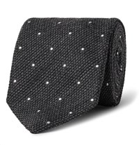 Drakes Drake's 8Cm Polka Dot Wool And Silk Blend Tie Charcoal