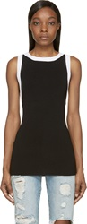Balmain Black Rib Knit Tank Top