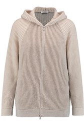 Brunello Cucinelli Two Tone Ribbed Knit Cashmere Blend Hooded Cardigan Light Gray