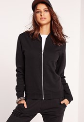 Missguided Tall Exclusive Jersey Bomber Jacket Black Black