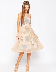 Asos Wedding Printed And Sheer Layer Prom Dress Pink