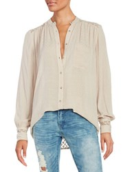 Free People The Best Top Crochet Accented Button Front Shirt Beige