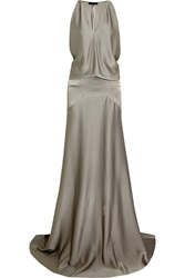 Maria Grachvogel Raven Draped Satin Crepe Gown Gray