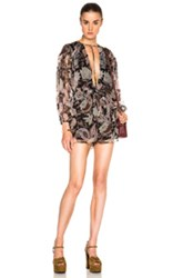 Zimmermann Henna T Bar Romper In Black Floral