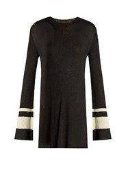 Ellery Barbie Round Neck Ribbed Knit Sweater Black