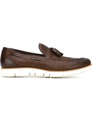Henderson Baracco Woven Boat Shoes Brown