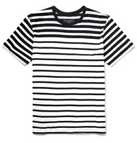 Rag And Bone Striped Cotton Jersey T Shirt Black