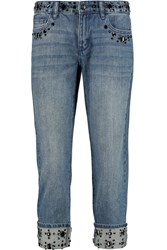Michael Michael Kors Embellished Mid Rise Straight Leg Jeans Blue
