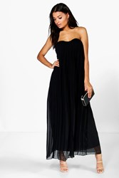 Boohoo Bandeau Pleated Chiffon Maxi Dress Black