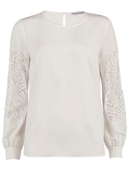 Gina Bacconi Soho Crepe Blouse With Guipure Sleeves White Ivory