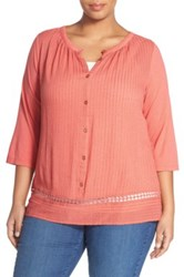 Lucky Brand Embroidered Inset Peasant Blouse Plus Size Orange