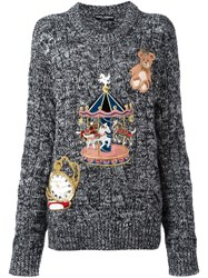 Dolce And Gabbana Embellished Marled Jumper Grey