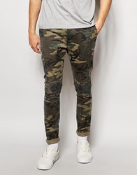Asos Skinny Chinos In Camo Print With Biker Panels Khaki Green