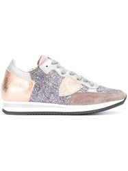 Philippe Model Glitter Effect Panel Sneakers Pink And Purple